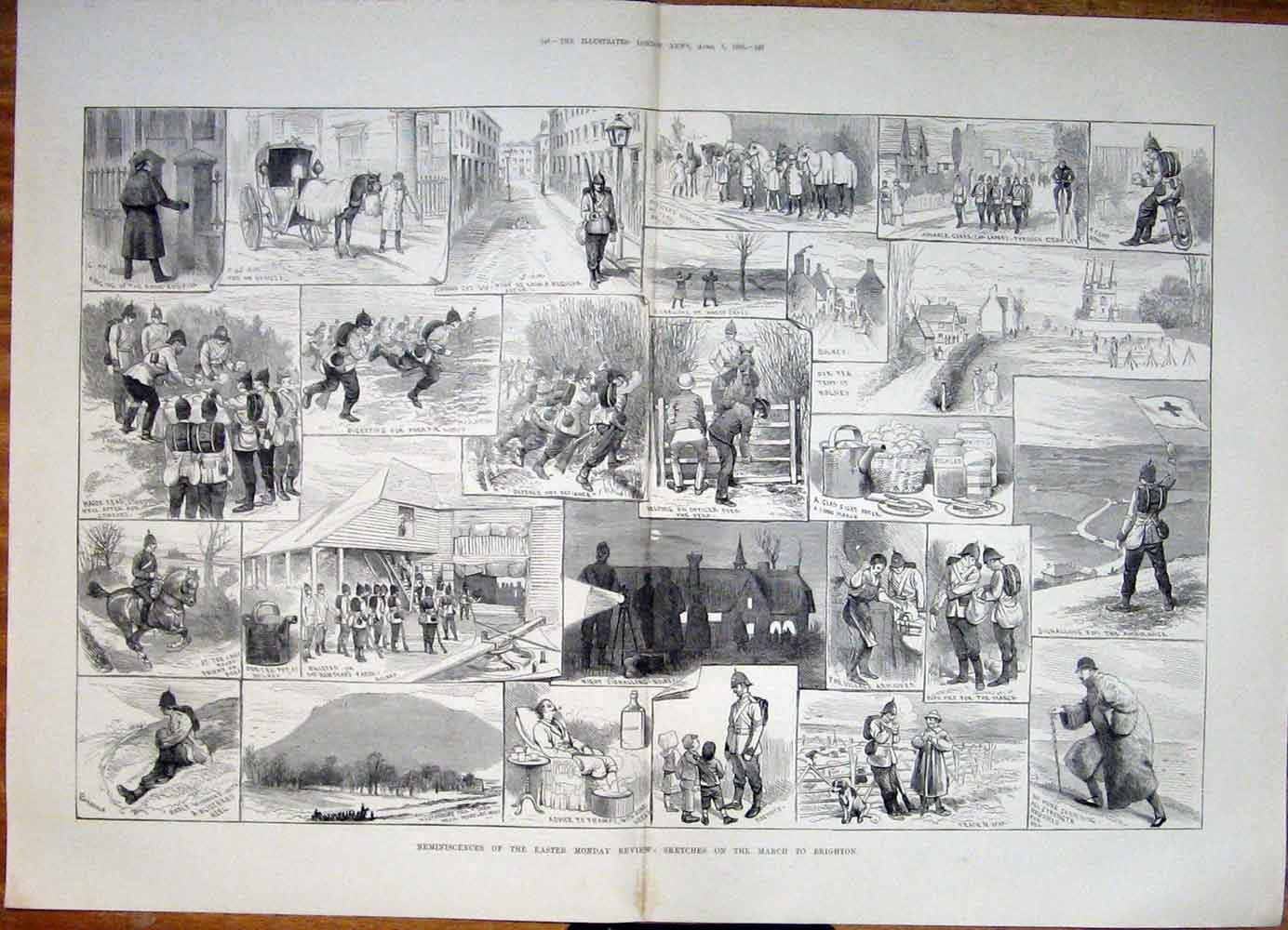 Print Easter Monday Review Brighton Sketches 1883 47Tmaa0 Old Original