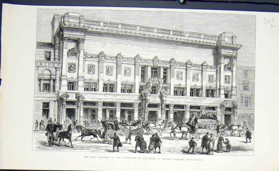 Print Gallery Institute Painter Water Colours Piccadilly 1883 65Lmaa0 Old Original