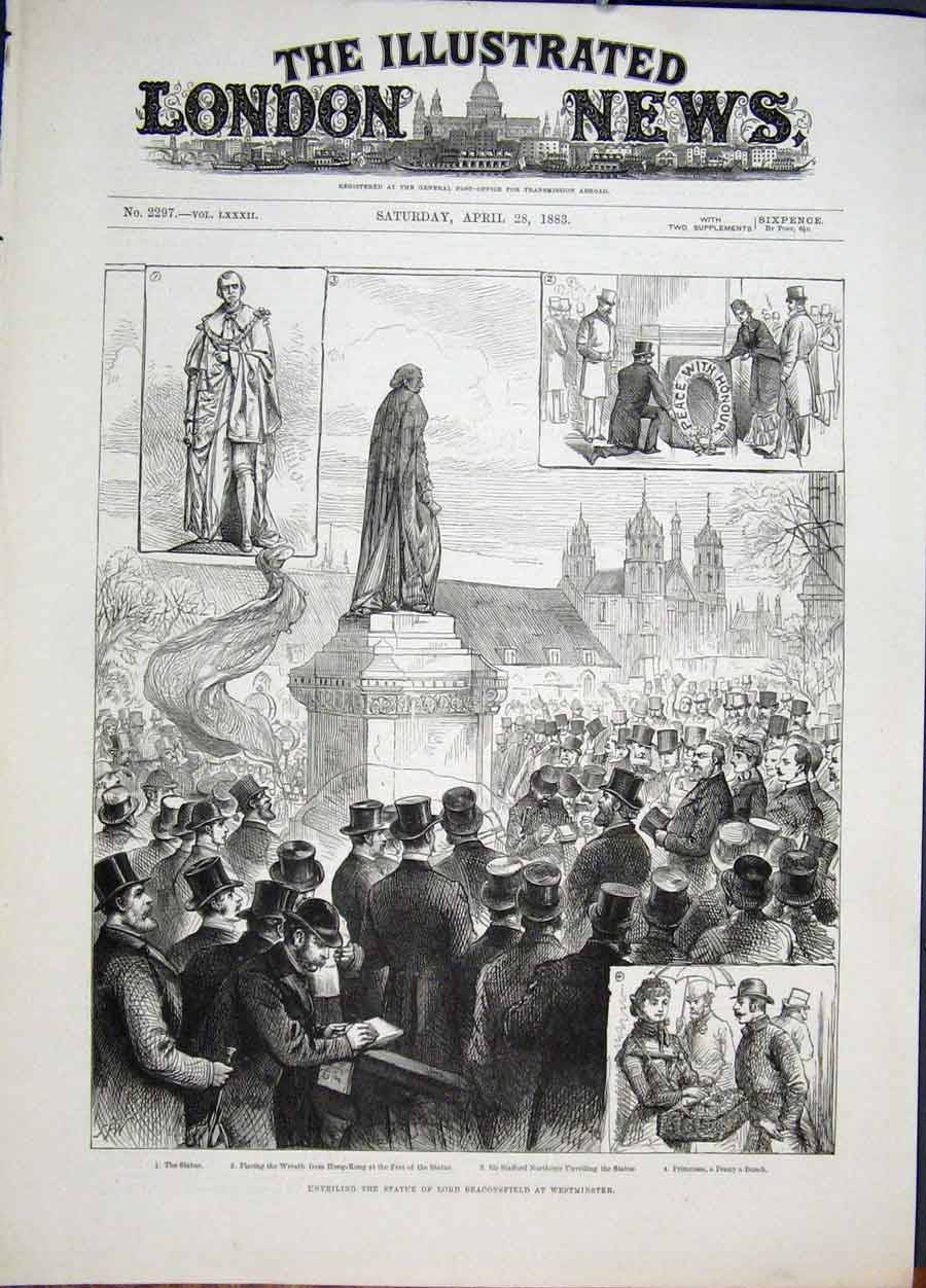 Print Statue Beaconsfield Westminster Northcote 1883 02Maa0 Old Original