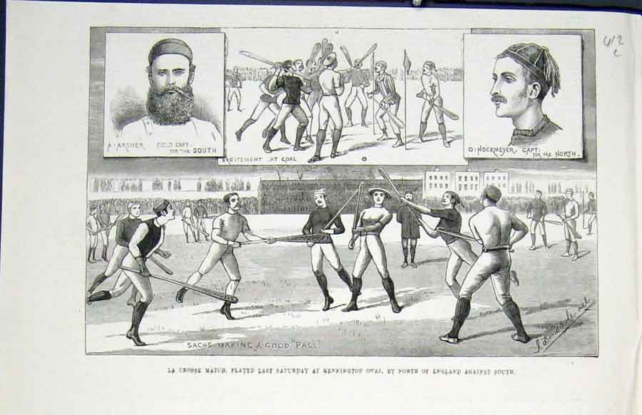 Print La Crosses Match Kennigton Oval England 1883 12Lmaa0 Old Original