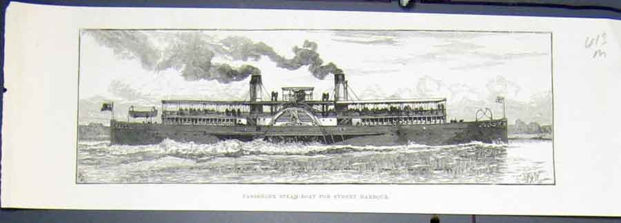 Print Passenger Steam Boat Sydney Harbour Australia 1883 13Mmaa0 Old Original
