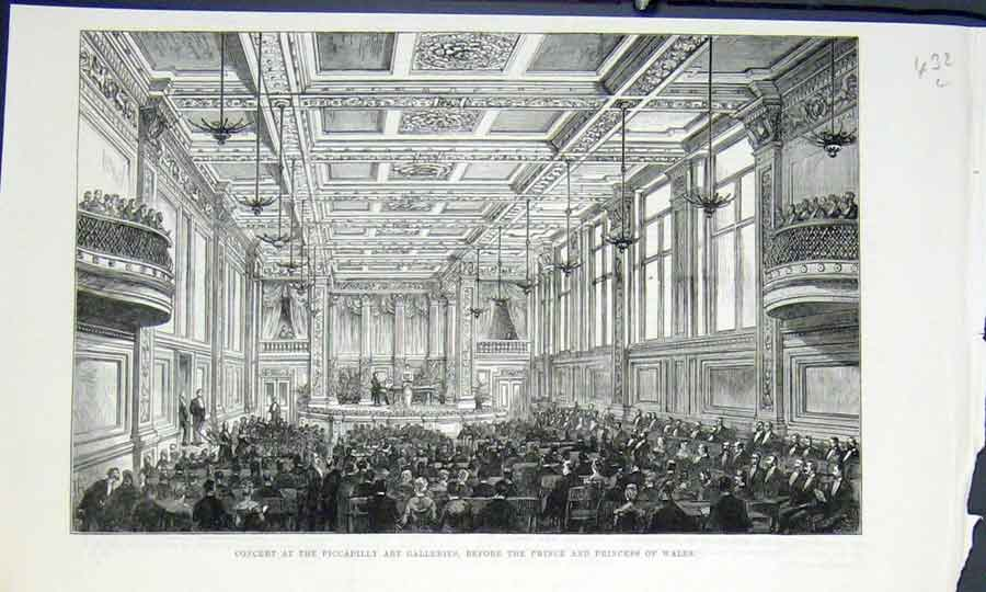 Print Piccadilly Concert Art Galleries 1883 32Lmaa0 Old Original