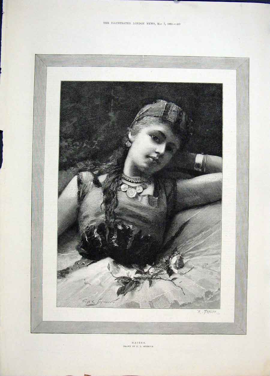 Print Haidee Seymour Girl Rose Lady Fine Art 1883 49Maa0 Old Original