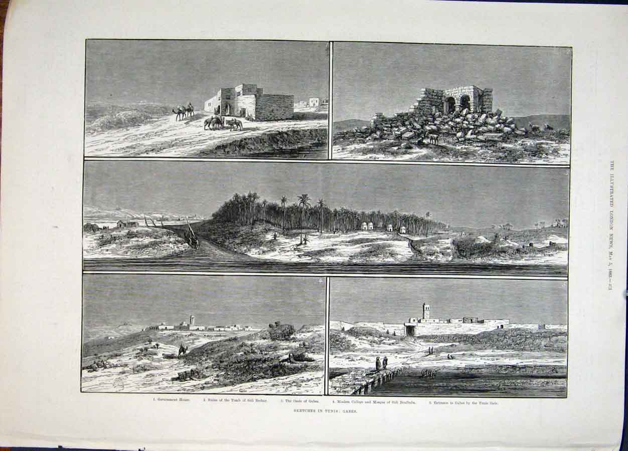 Print Sketches Tunis Tunisia Gabes Ruins College Tomb 1883 52Maa0 Old Original