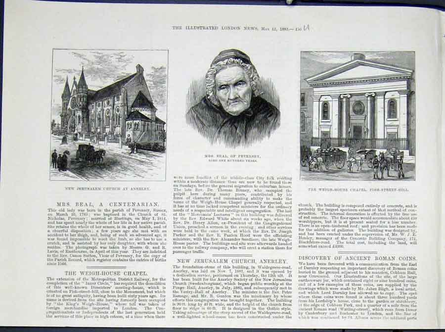 Print Portrait Beal Pevensey Anerley Church Fish Street Hill 56Umaa0 Old Original
