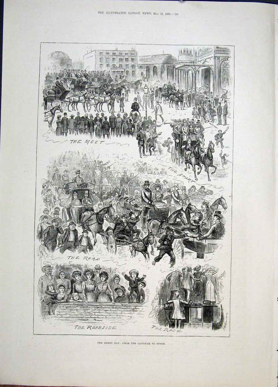 Print Derby Day Langham Epsom Races Race Meet 1883 24Maa0 Old Original
