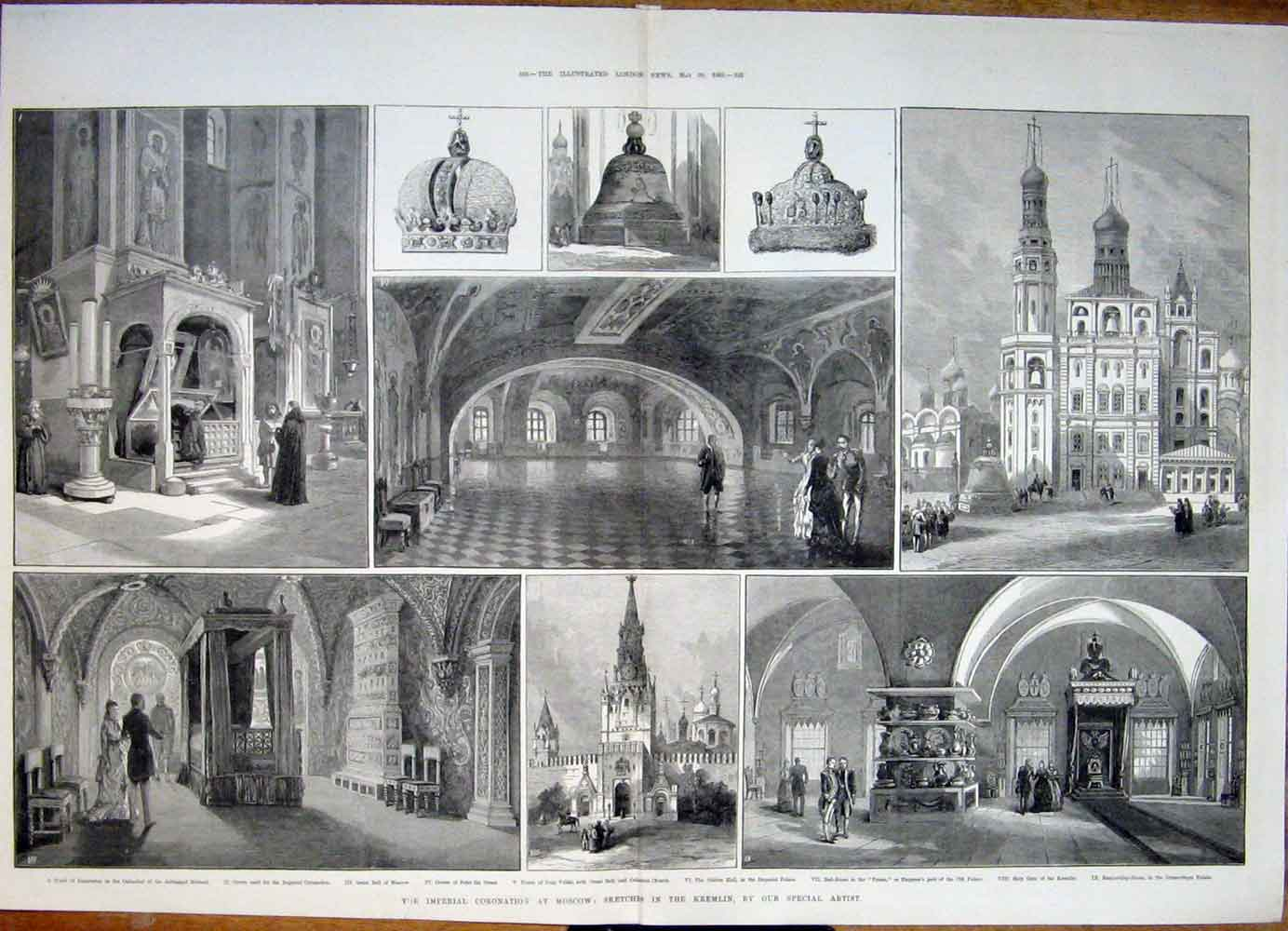 Print Imperial Coronation Moscow Russia Kremlin Church 1883 31Tmaa0 Old Original