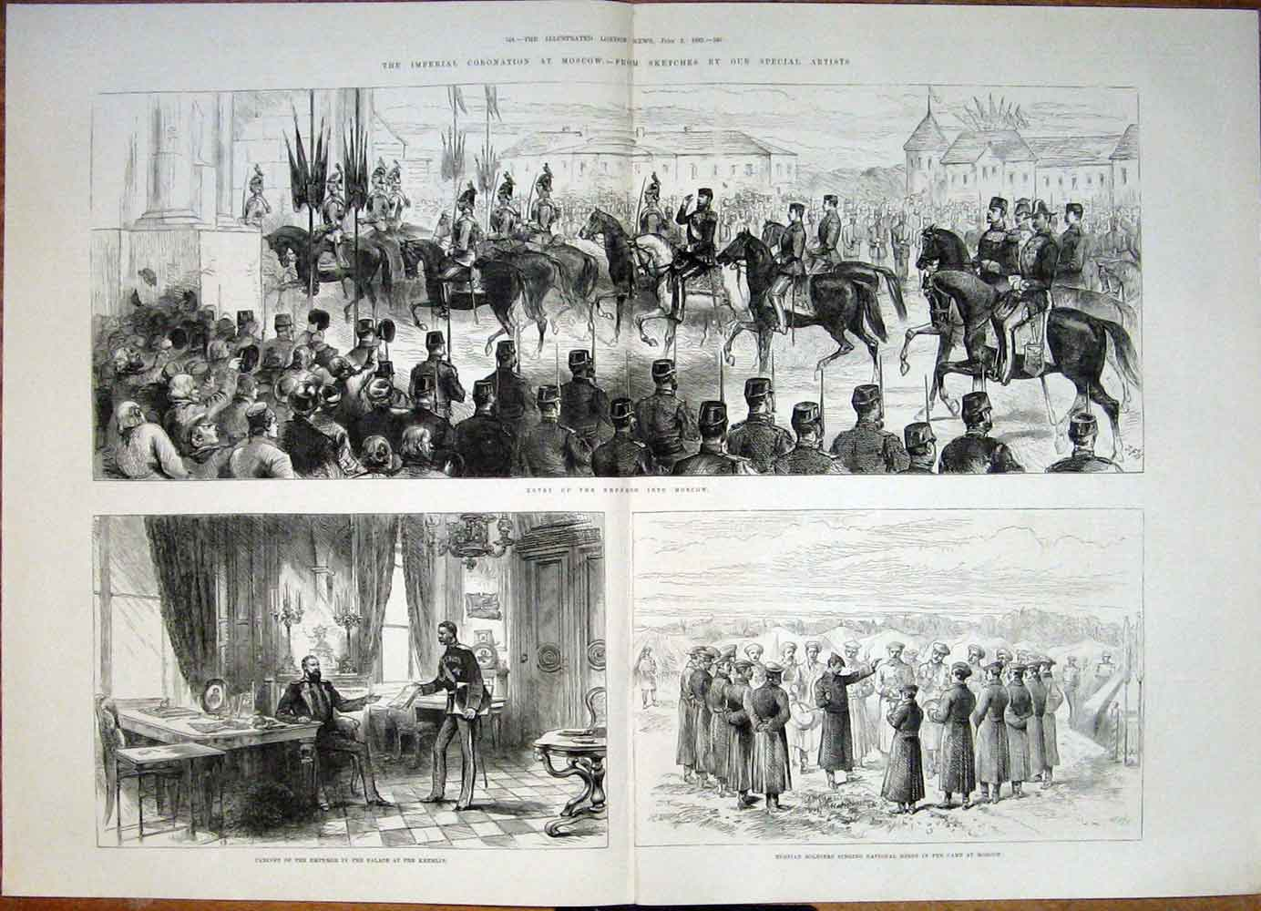 Print Imperial Coronation Moscow Russia Sketches Kremlin 1883 43Tmaa0 Old Original