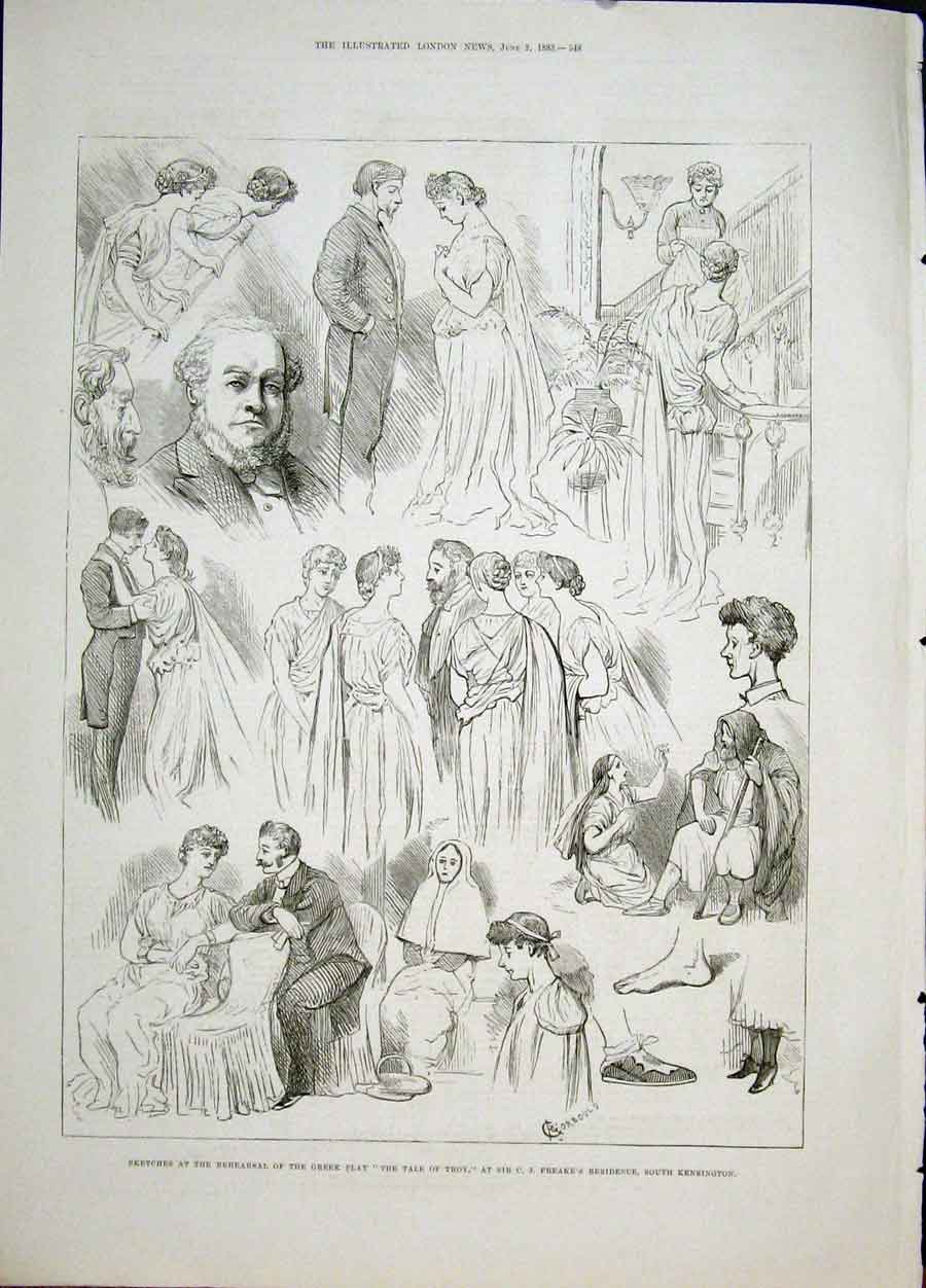 Print Sketches Greek Play Troy Freake Kensington London 1883 48Maa0 Old Original