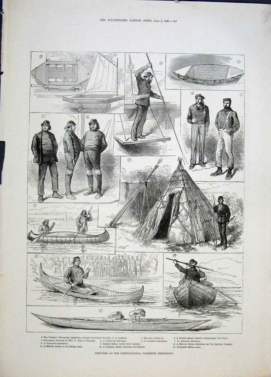 Print International Fisheries Exhibition Boat Fisherman 1883 57Maa0 Old Original