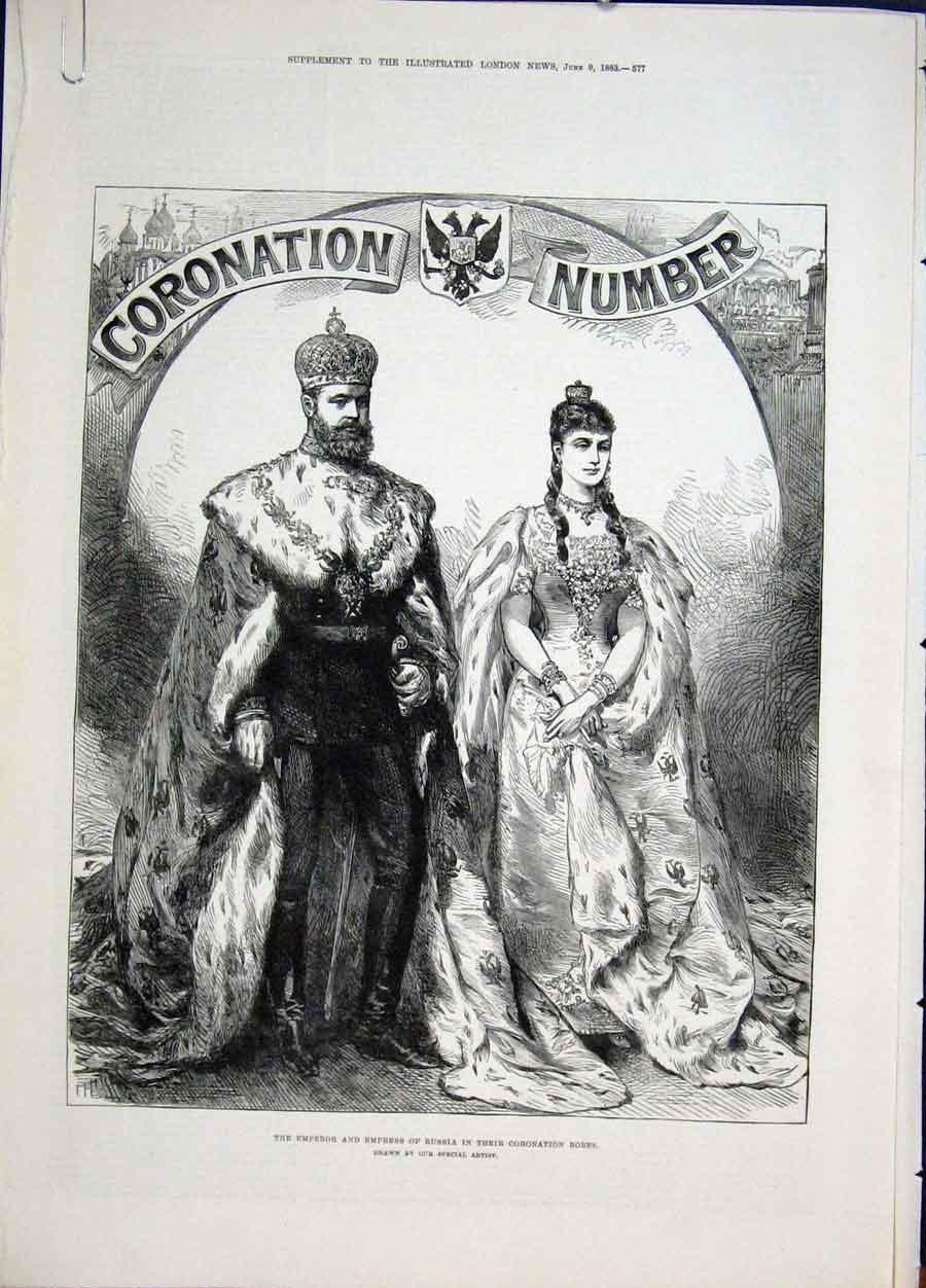 Print Emperor Epress Russia Coronation Robes Moscow 1883 77Amaa0 Old Original