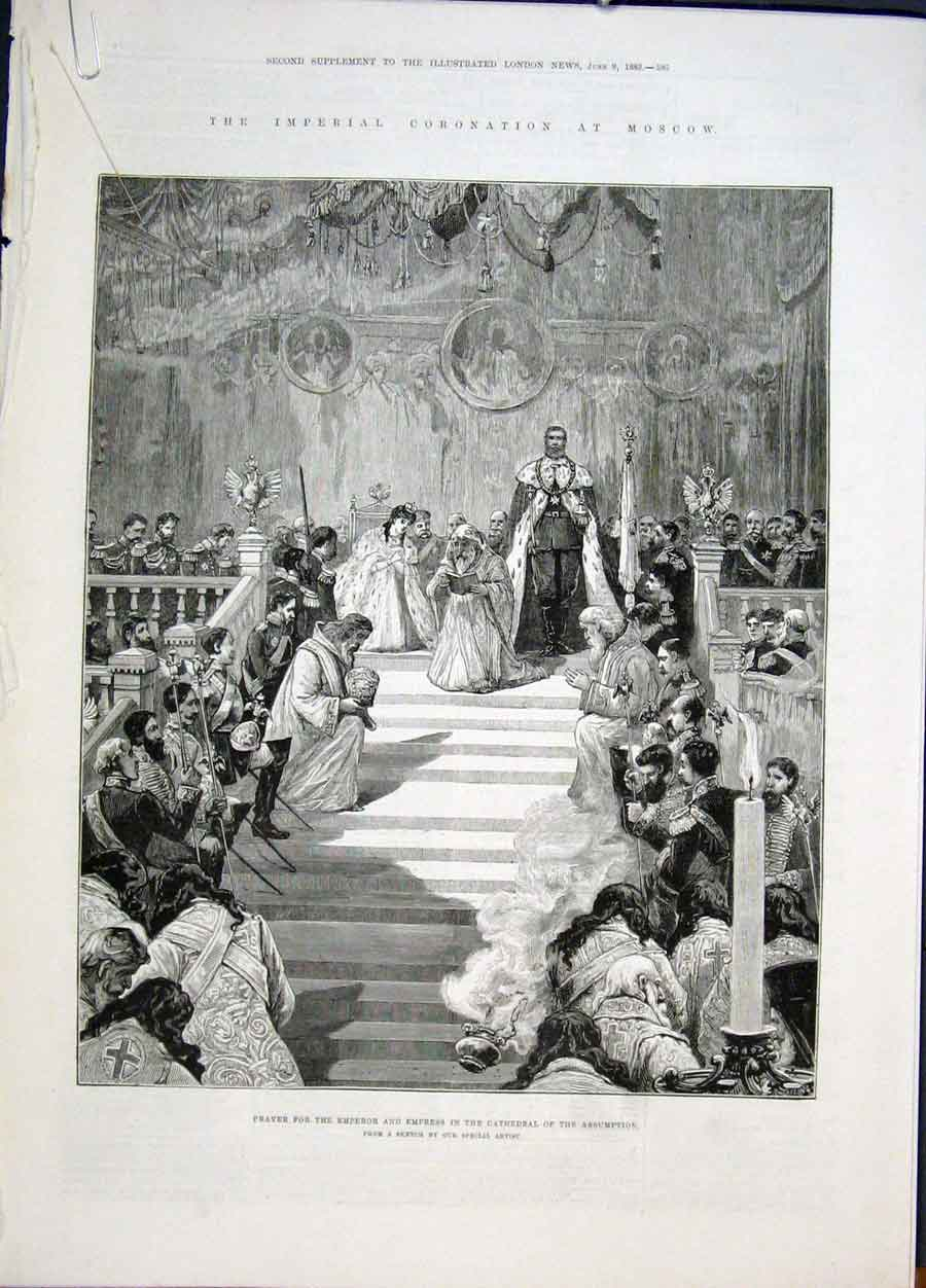 Print Imperial Coronation Moscow Russia Cathedral 1883 85Amaa0 Old Original
