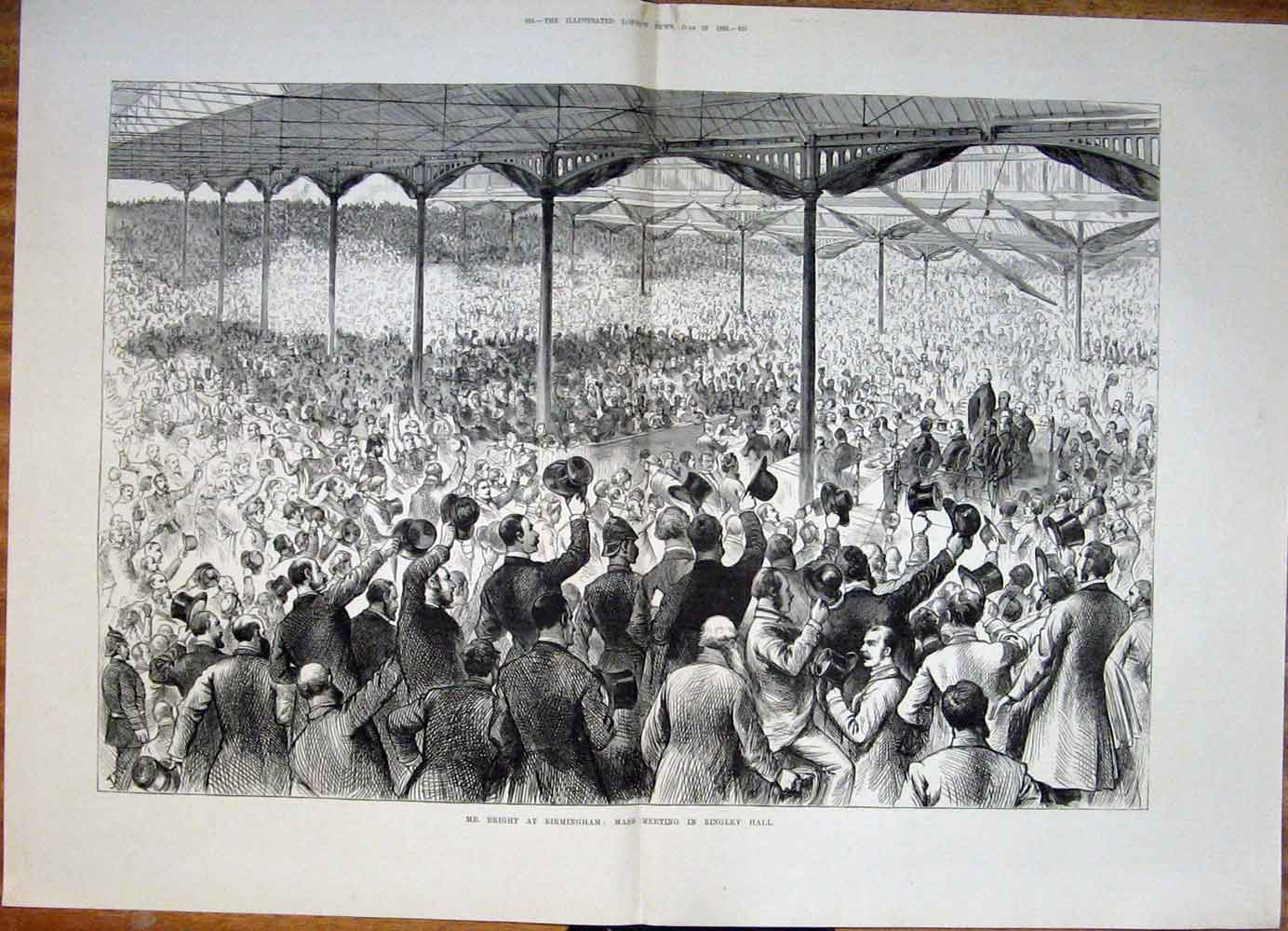 Print Bright Birmingham Bingley Hall Mass Meeting 1883 23Tmaa0 Old Original