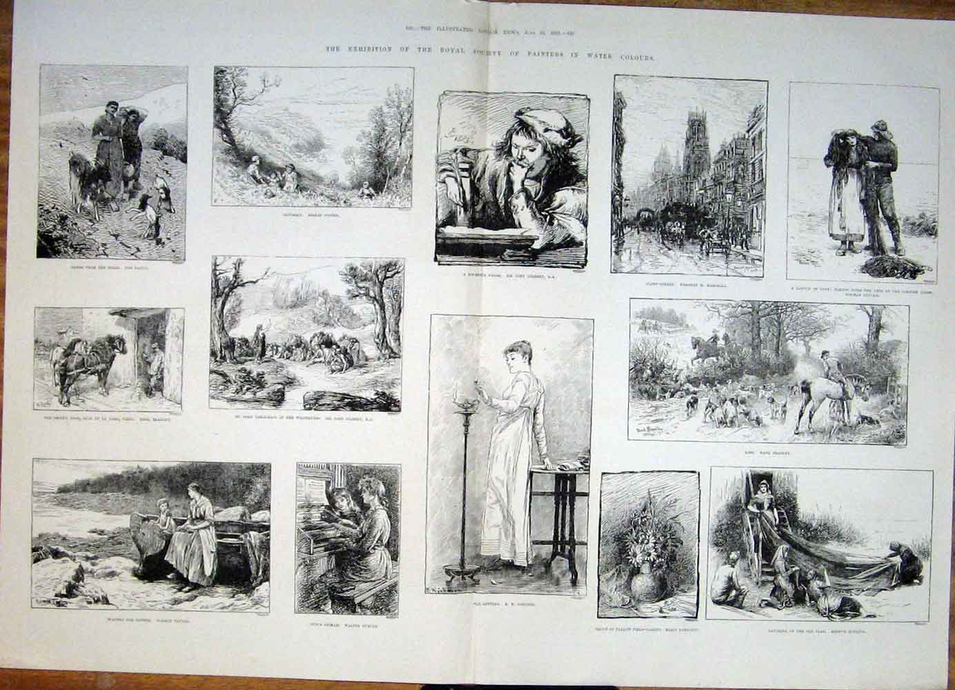 Print Exibition Royal Society Painters Water Colours Art 1883 41Tmaa0 Old Original