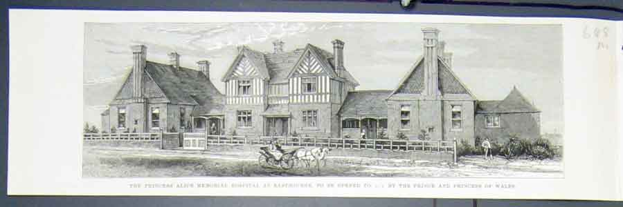 Print Princess Alice Memorial Hospital Eastbourne 1883 48Mmaa0 Old Original