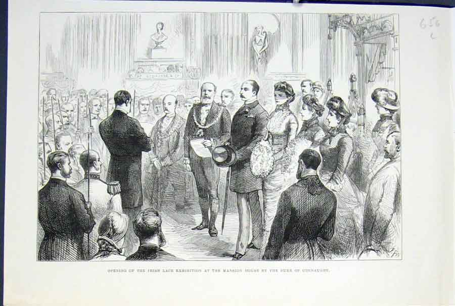 Print *0012 Irish Lace Exhibition Mansion House Duke Connaught 1883 56Lmaa0 Old Original