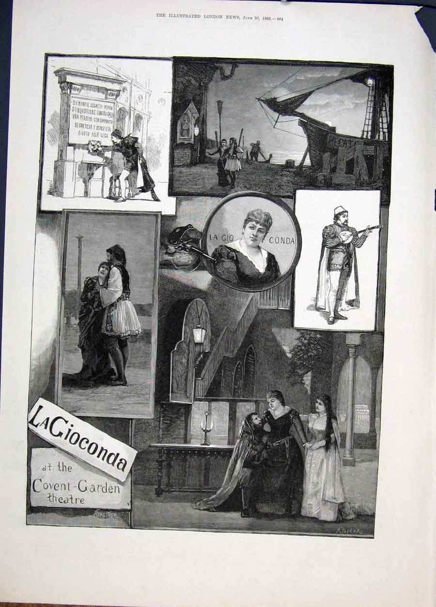 Print Covent Garden Theatre London La Gioconda 1883 64Maa0 Old Original