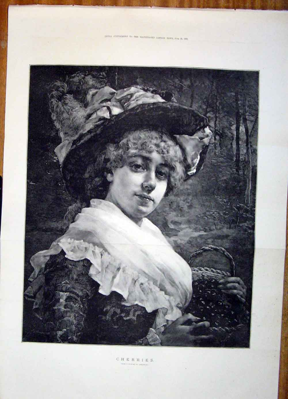 Print Cherries Edelfeldt Fruit Lady Fine Art 1883 01Tmaa0 Old Original