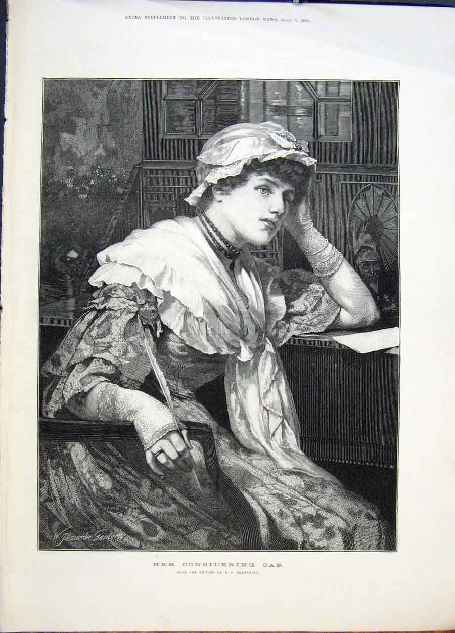 Print Her Considering Cap Brentnall Lady 1883 25Maa0 Old Original