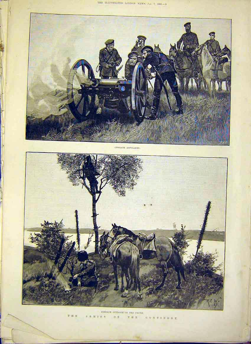 Print Army Military Cossack Pruth Artillery 1888 08Maa0 Old Original