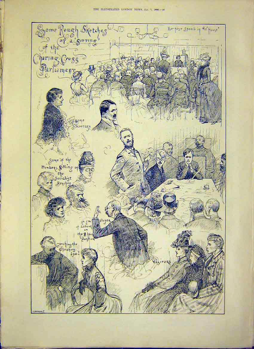 Print Sketches Charing Cross Parliament Speaker 1888 20Maa0 Old Original