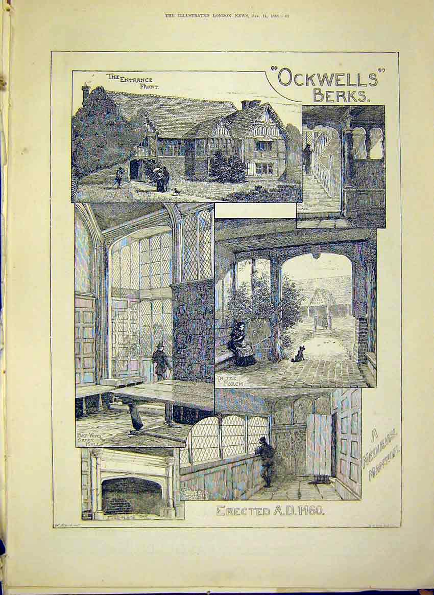 Print Ockwells Berkshire Mediaeval Mansion Building 1888 43Maa0 Old Original