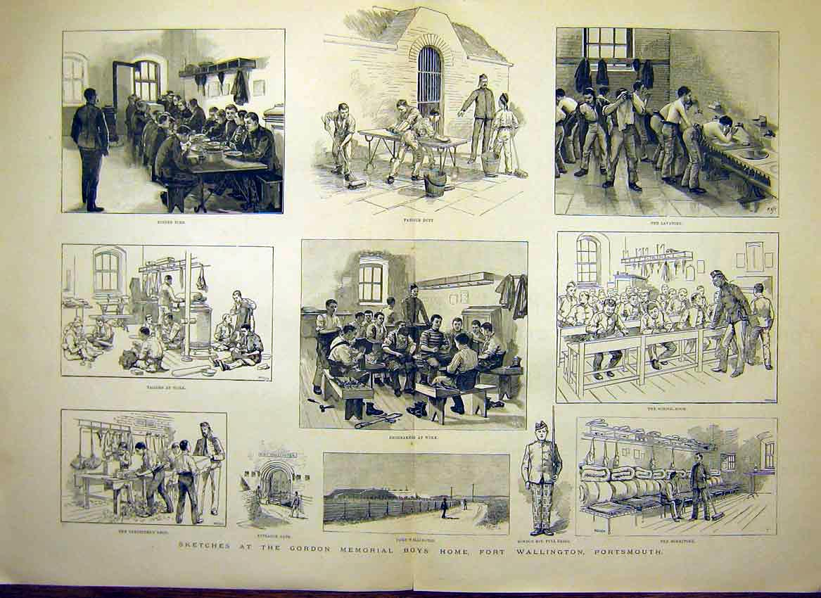 Print Sketches Gordon Memorial Boys Home Portsmouth 1888 49Tmaa0 Old Original