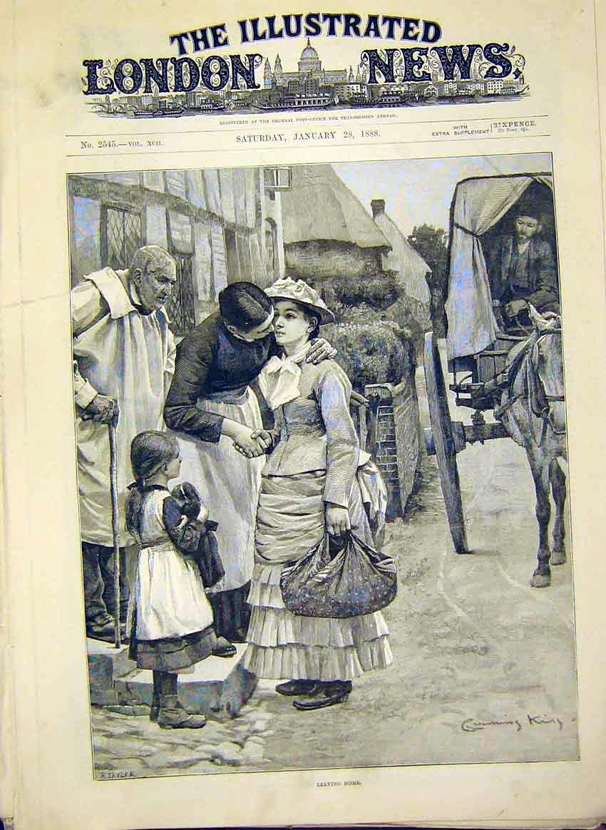 Print Laeving Home Lady Girl Farewell Woman Fine Art 1888 80Maa0 Old Original