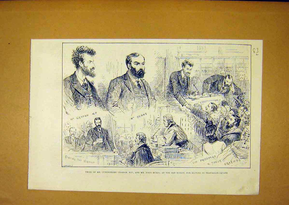 Print Trial Graham Mp Burns Bailey Riot 1888 Trafalgar 83Lmaa0 Old Original