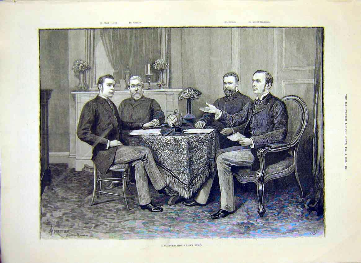 Print San Remo Meeting Hovell Schrader Krause Mackenzie 1888 15Maa0 Old Original