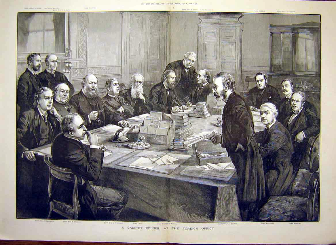 Print Cabinet Council Foreign Office Balfour Ashbourne 1888 25Tmaa0 Old Original