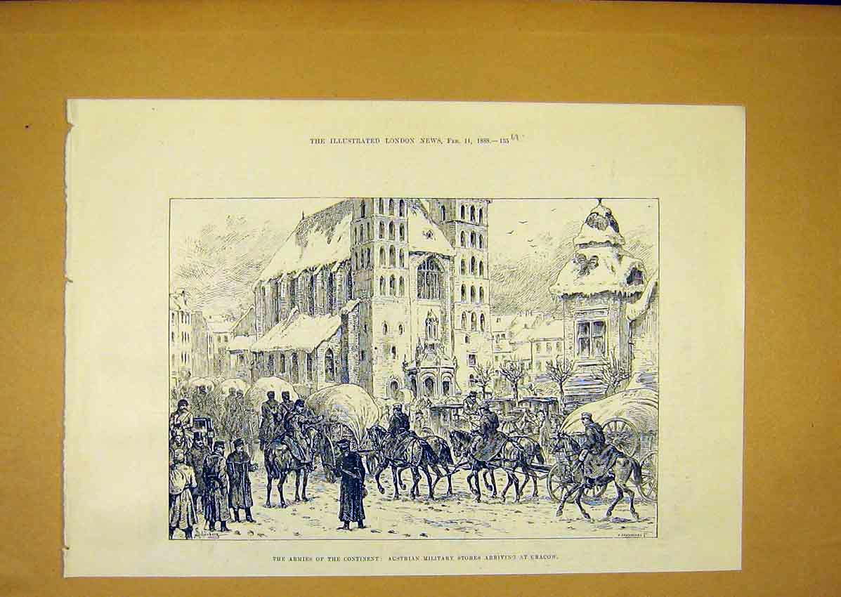 Print Army Austrian Military Stores Cracow 1888 35Umaa0 Old Original