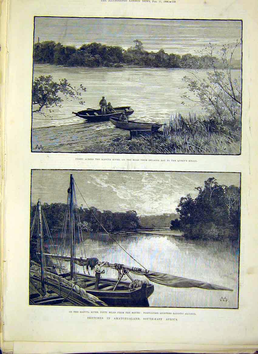 Print Sketches Africa Maputa River Alcohol Portugese 1888 39Maa0 Old Original