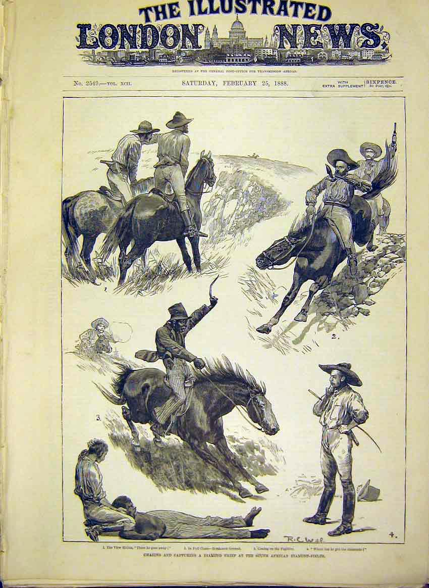 Print Diamond Thief South Africa African 1888 88Maa0 Old Original