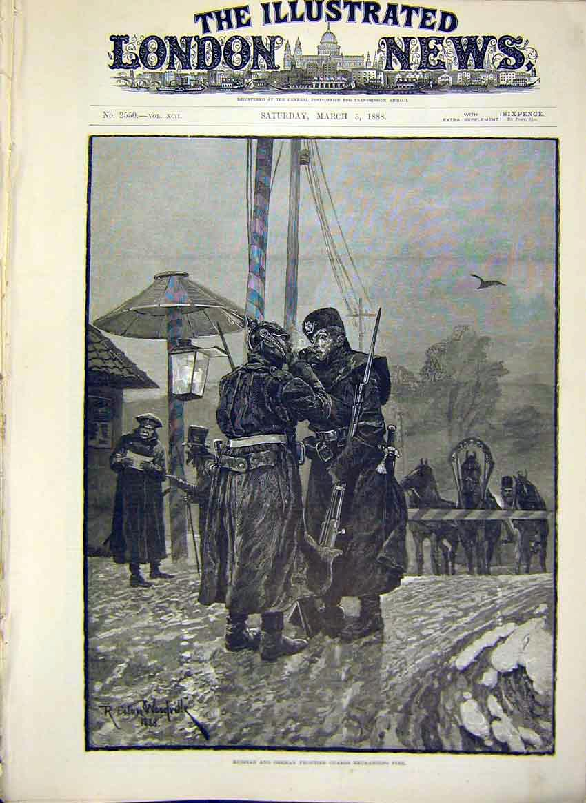 Print Russian German Frontier Guards Military Army 1888 12Maa0 Old Original