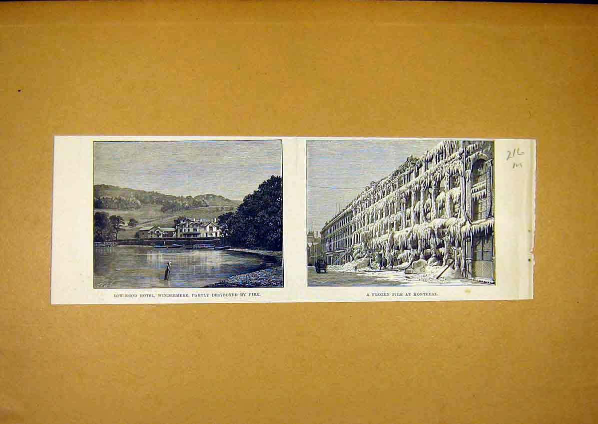 Print Low-Wood Hotel Windermere Fire Frozen Montreal 1888 16Mmaa0 Old Original