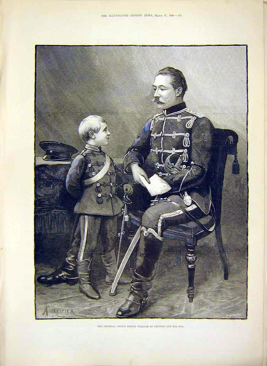 Print Imperial Crown Prince William Prussia Portrait Son 1888 75Maa0 Old Original