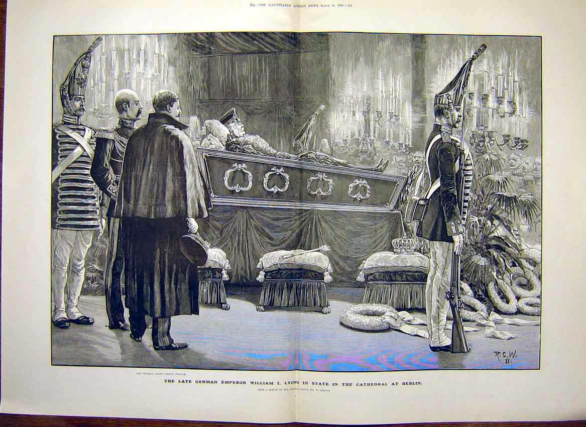 Print German Emperor William Cathedral Berlin 1888 13Tmaa0 Old Original