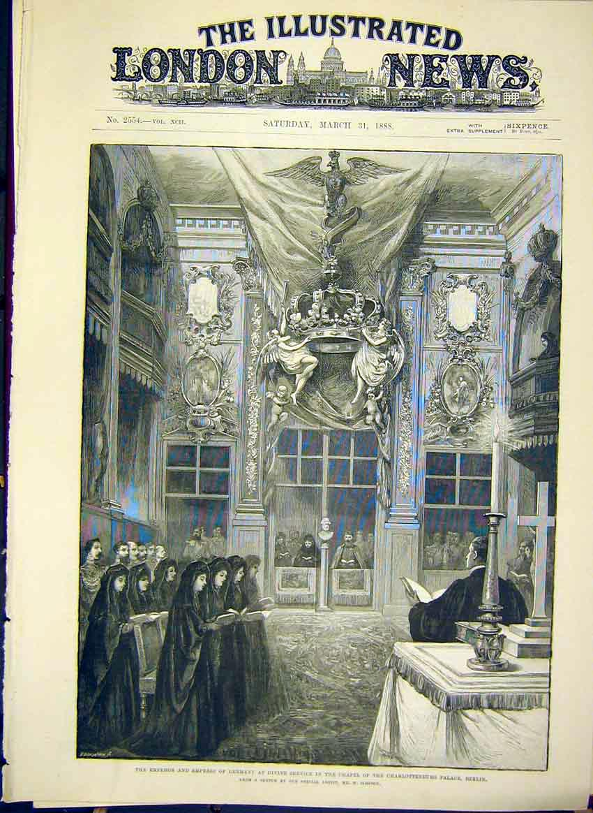 Print Charlottenburg Palalce Emperor Germany Berlin 1888 24Maa0 Old Original
