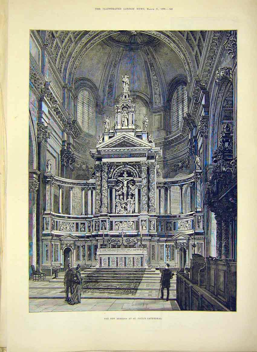Print Reredos St Paul'S Cathedral Building 1888 42Maa0 Old Original