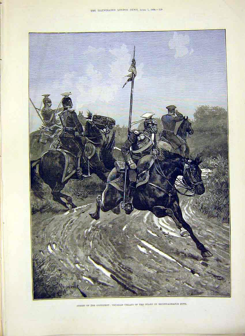 Print Army Military Prussian Uhlans Guard 1888 59Maa0 Old Original