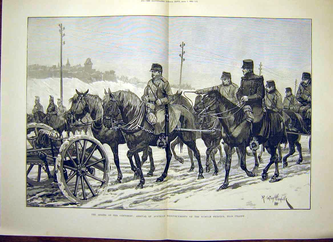 Print Army Austrian Reinforcements Russian Frontier Cracow 69Tmaa0 Old Original
