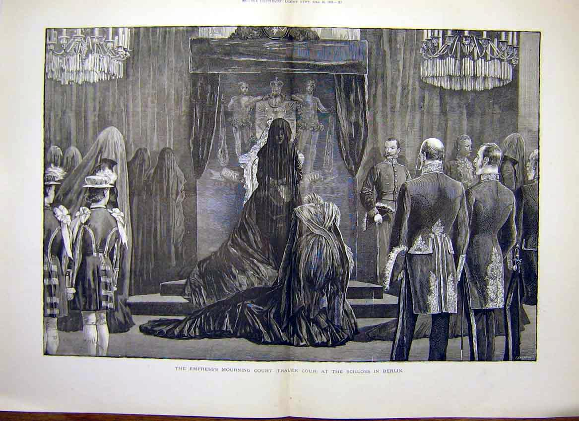 [Print Empress Mourning Court Schloss Berlin Germany 1888 85Tmaa0 Old Original]
