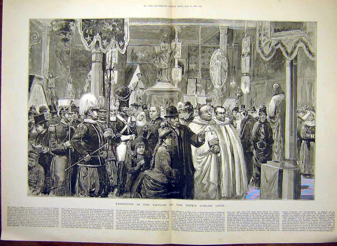 Print Exhibition Vatican Pope Jubilee Gifts Rome Italy 1888 33Tmaa0 Old Original