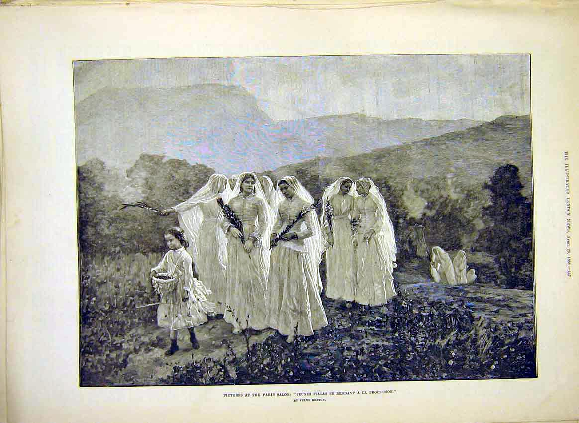 Print Young Girls Procession Breton Fine Art 1888 47Maa0 Old Original