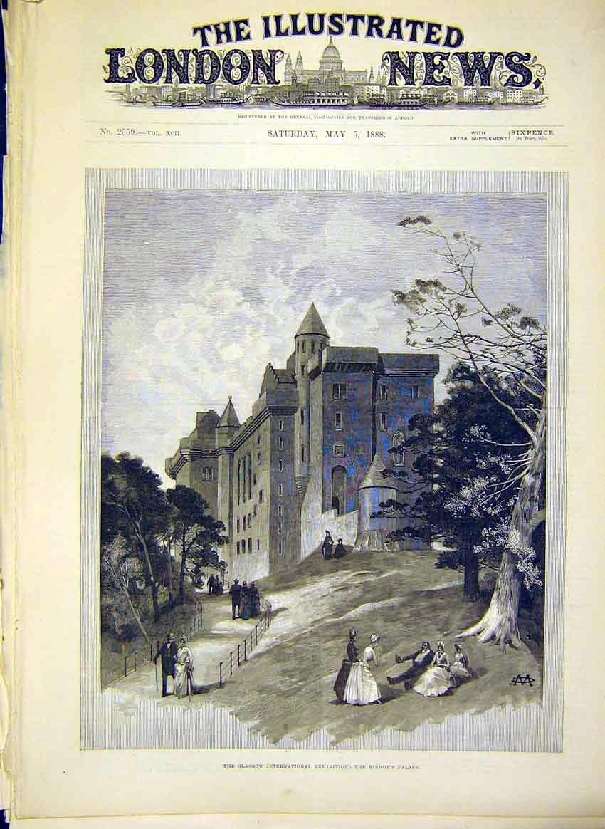 Print Glasgow Exhibition Bishop'S Palace Scotland 1888 72Maa0 Old Original