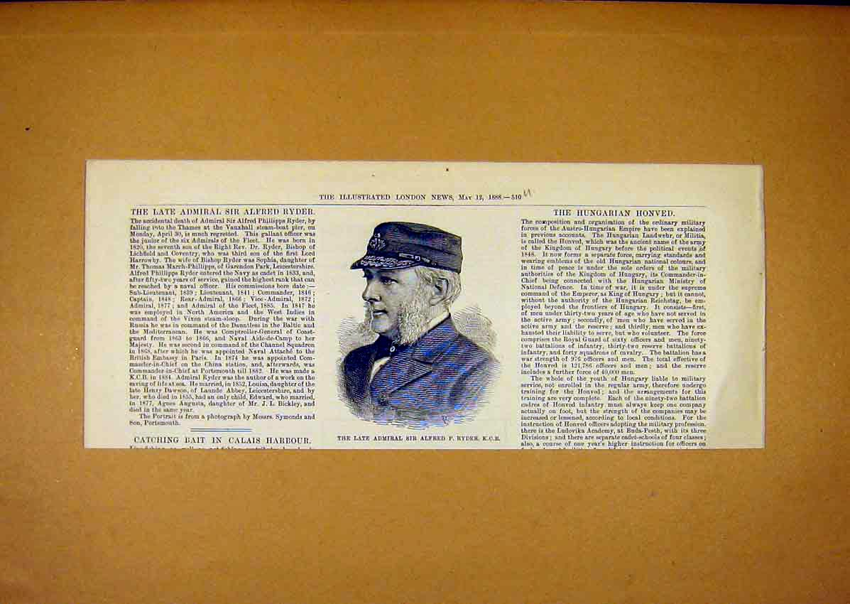 Print Admiral Alfred Ryder Portrait Military 1888 10Umaa0 Old Original