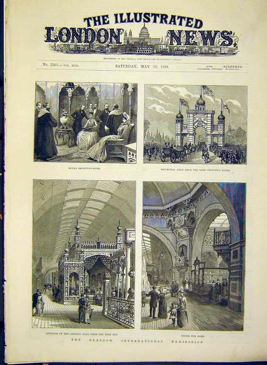 Print Glasgow Exhibition Scotland Provost Dome Hall 1888 32Maa0 Old Original