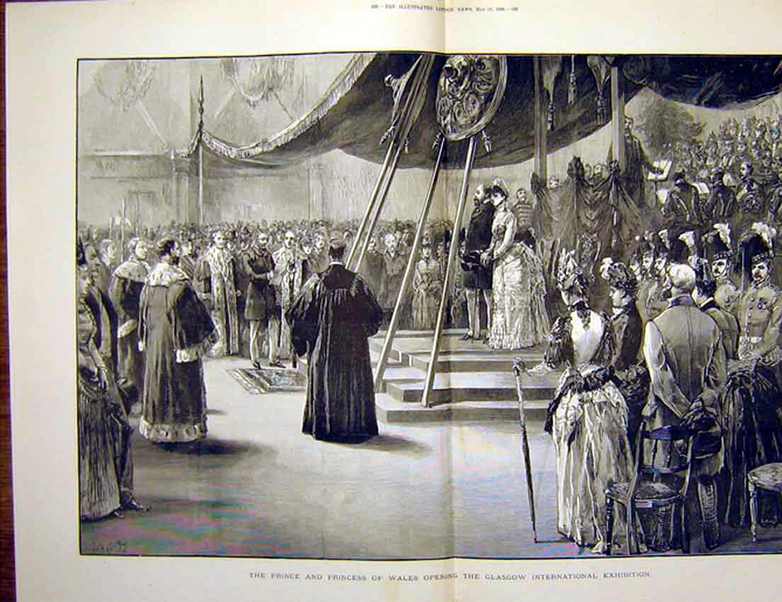 Print Prince Princess Wales Glasgow Exhibition Scotland 1888 37Tmaa0 Old Original