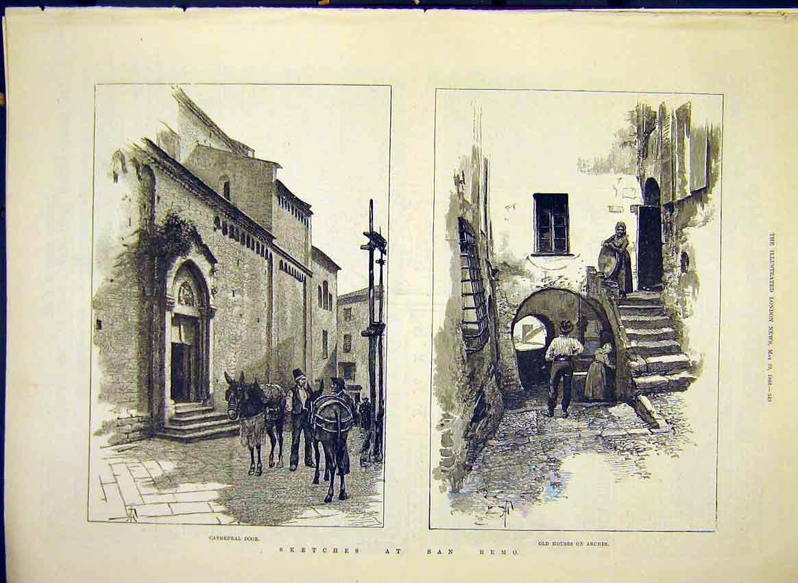 Print Sketches San Remo Buildings Catehdral Arches 1888 43Maa0 Old Original